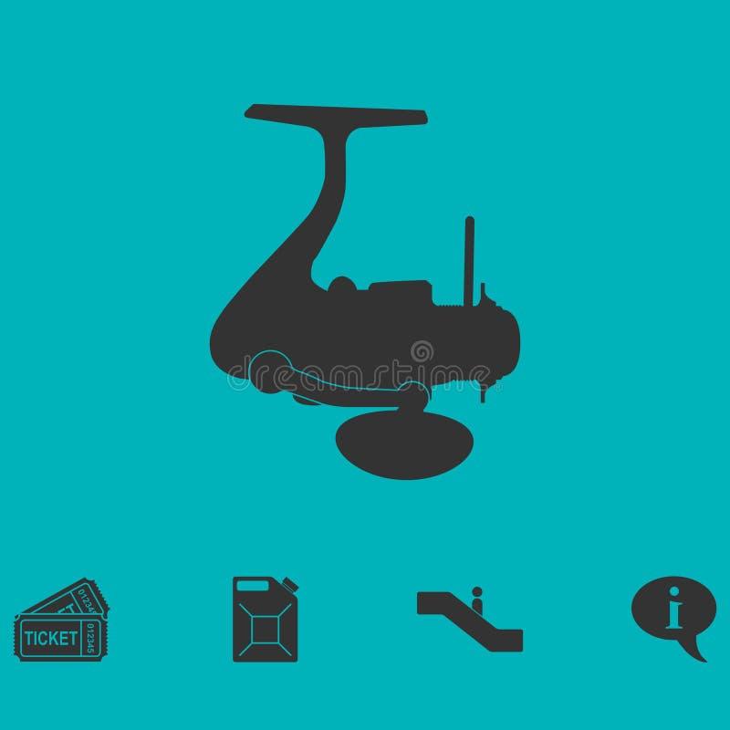 Pescando o ícone do carretel horizontalmente ilustração do vetor