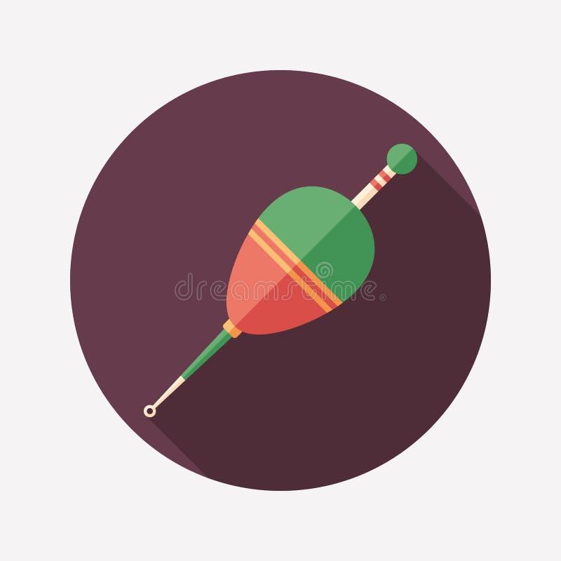 Pescando o ícone redondo liso do flutuador com sombras longas ilustração royalty free