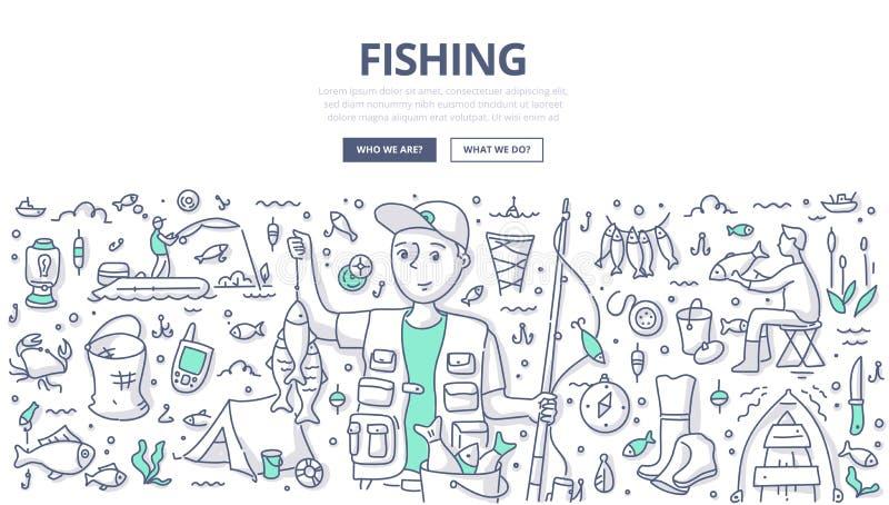 Pescando o conceito da garatuja ilustração do vetor