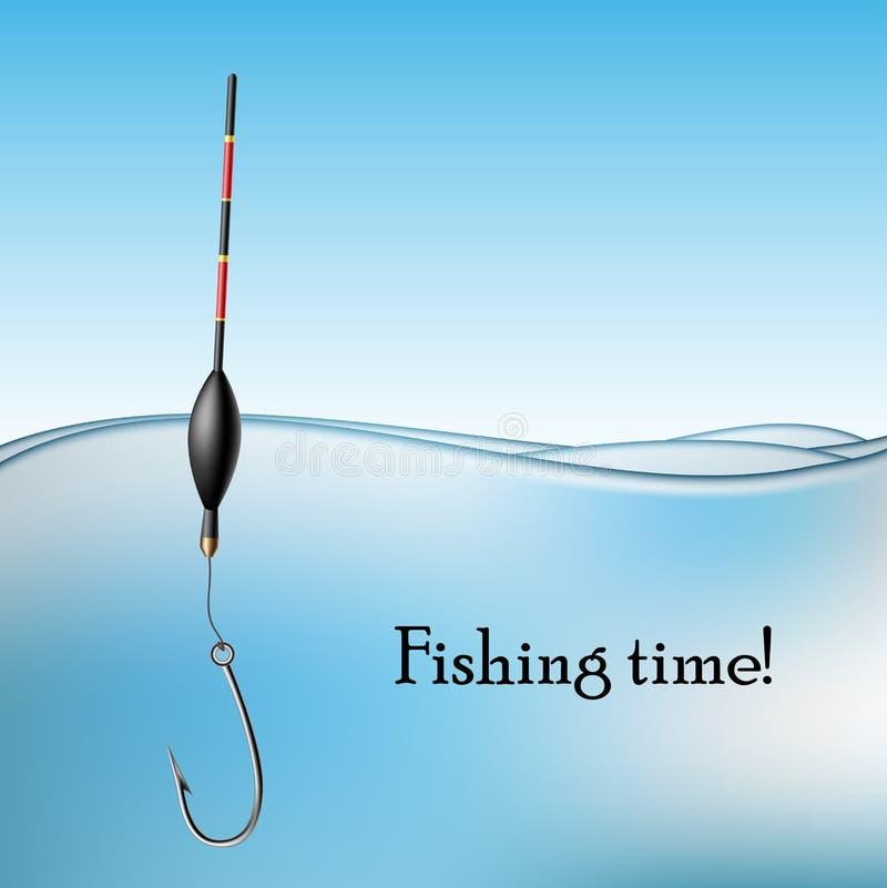Pescando o flutuador e o gancho na água ilustração royalty free