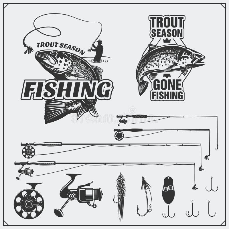 Pescando o jogo Etiquetas e emblemas da pesca do vintage Equipamento, ganchos e atrações de pesca ilustração stock
