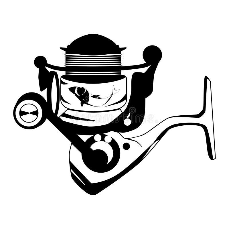 Pescando o molde de giro do preto do vetor do carretel ilustração stock