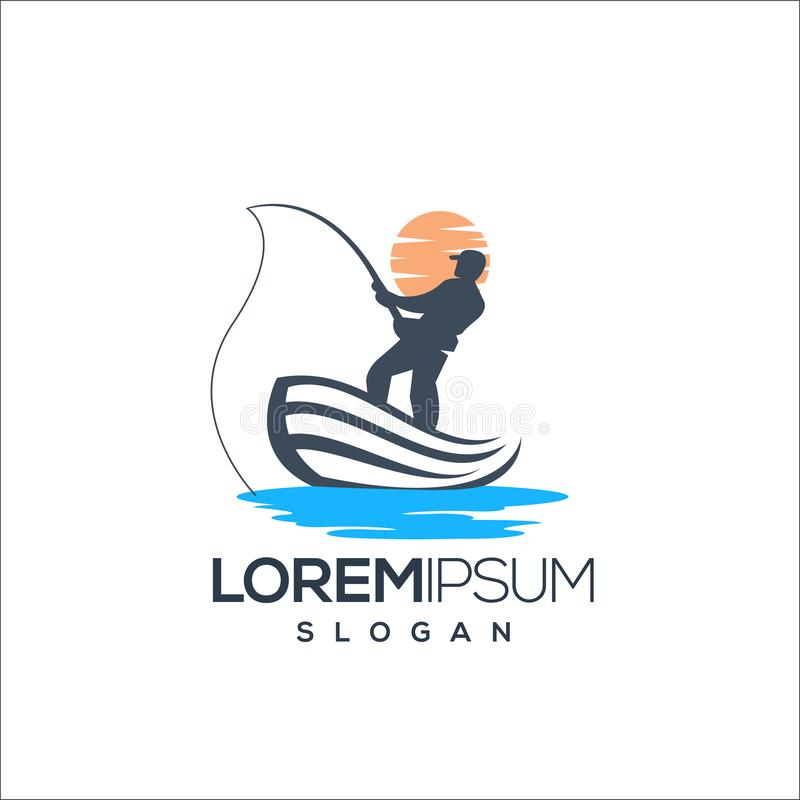 Pescando o projeto do logotipo, vetor, ilustração pronto para uso fotografia de stock royalty free