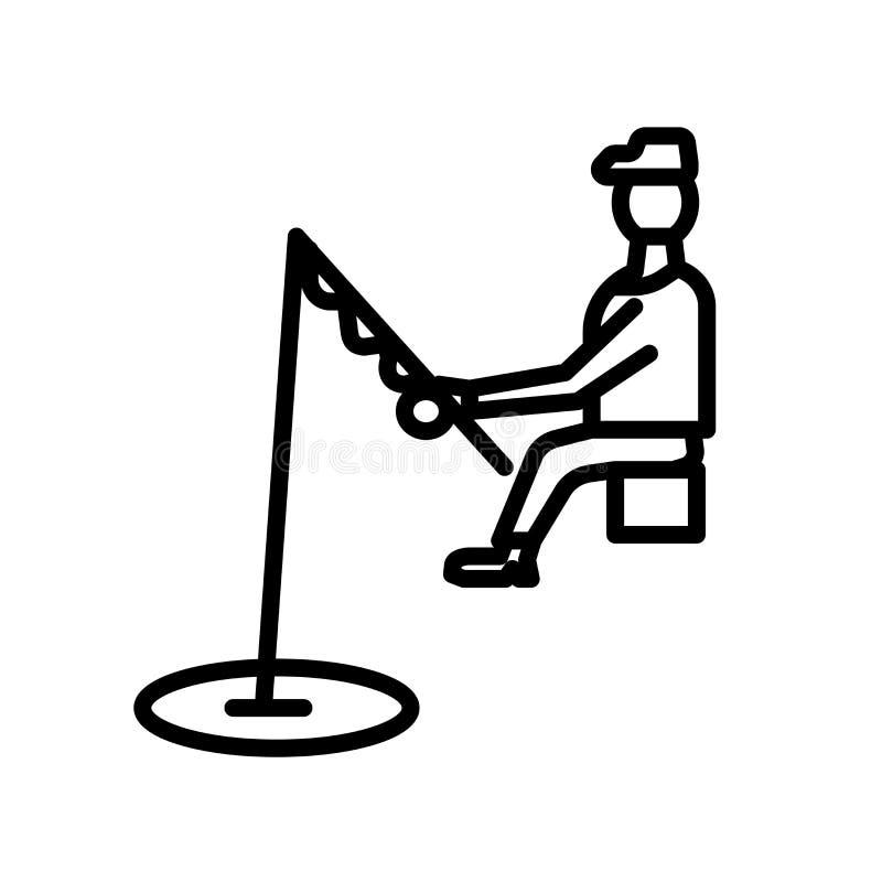 Pescando o vetor do ícone isolado no fundo branco, pescando o sinal, o símbolo linear e os elementos do projeto do curso no estil ilustração do vetor