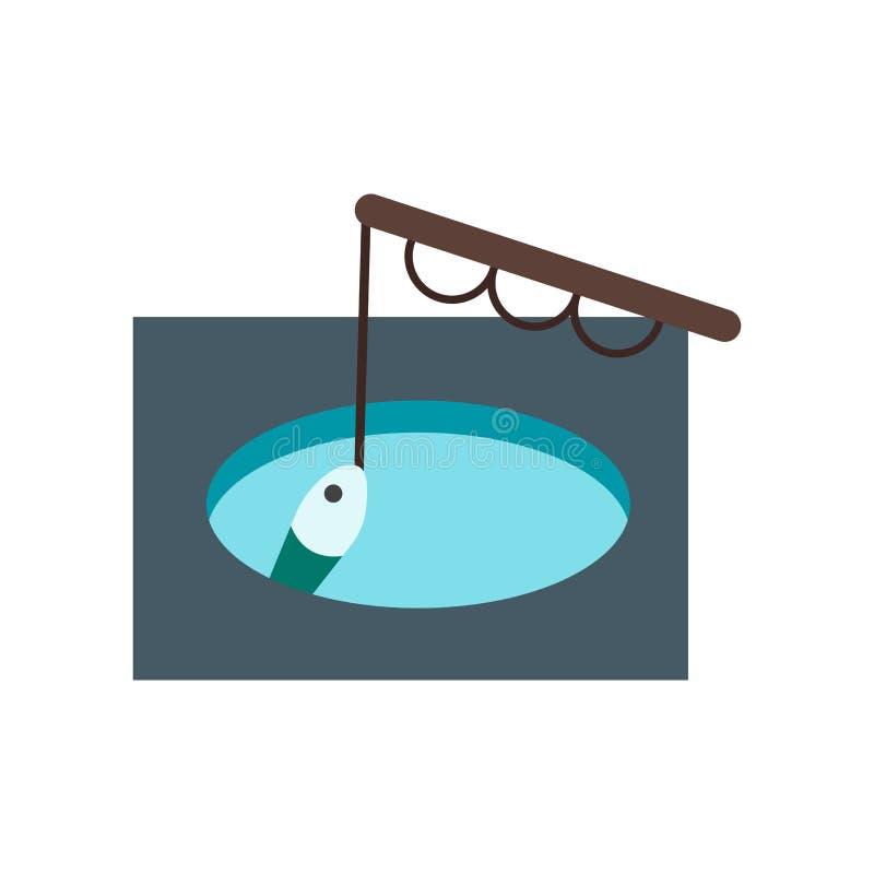Pescando o vetor do ícone isolado no fundo branco, pescando o sinal, símbolos frios nevados do inverno ilustração stock