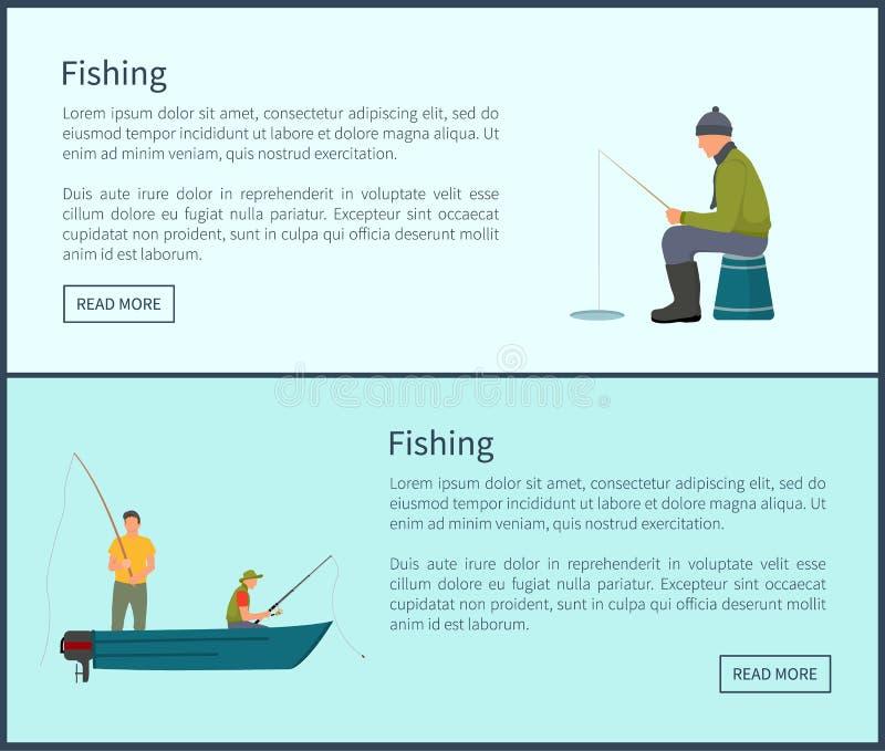 Pescando os homens que esperam a ilustração do vetor dos peixes ilustração royalty free