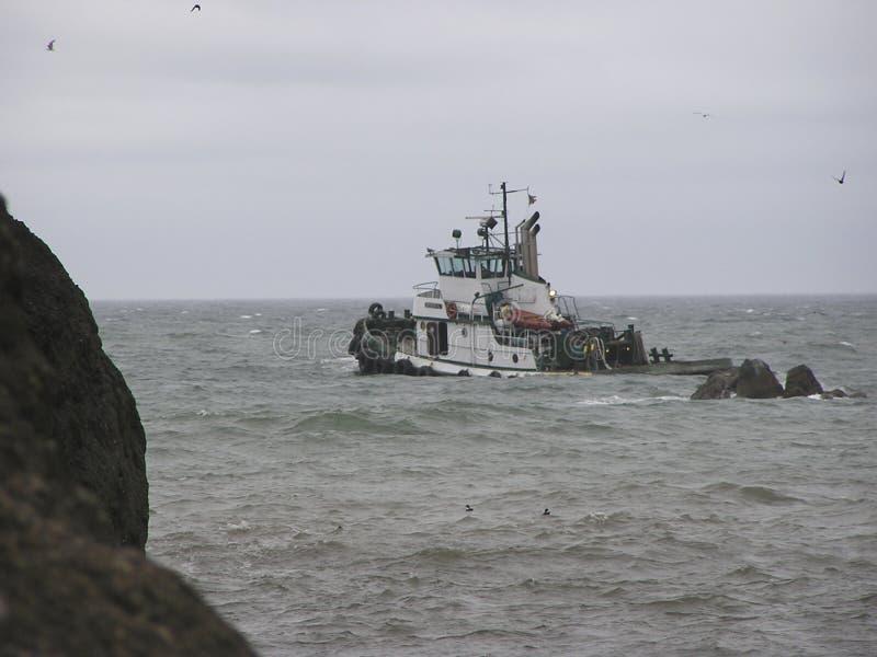 Pescando su mare agitato fotografia stock libera da diritti