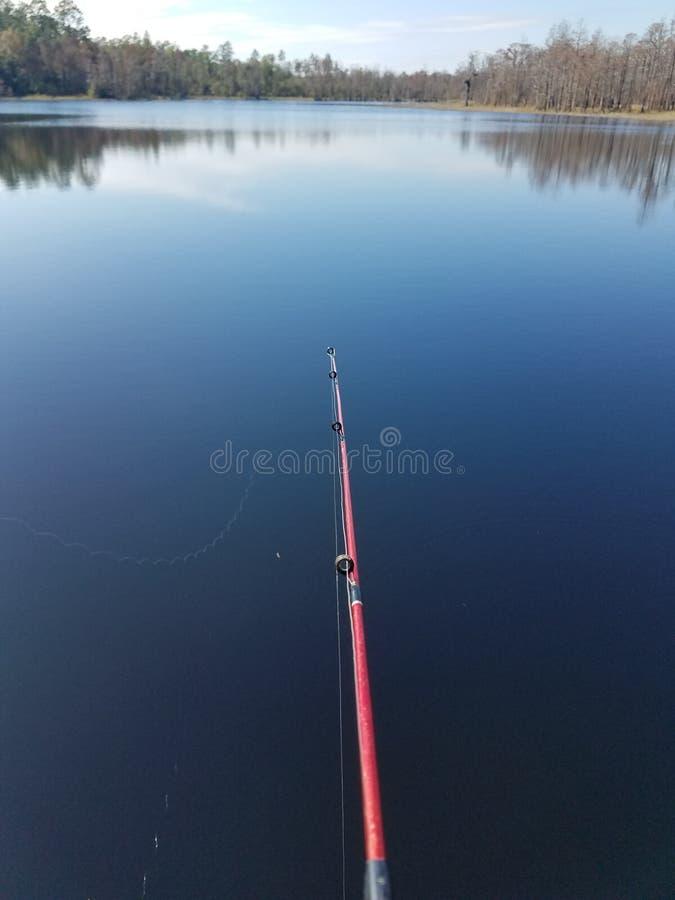 Pescando sul lago fotografia stock