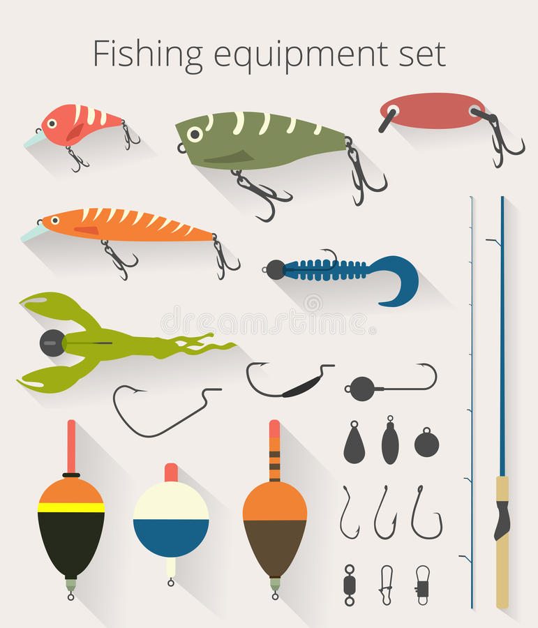 Pescar o grupo de acessórios para a pesca de giro com crankbait seduz e tornados e flutuador plástico macio da pesca da isca ilustração stock