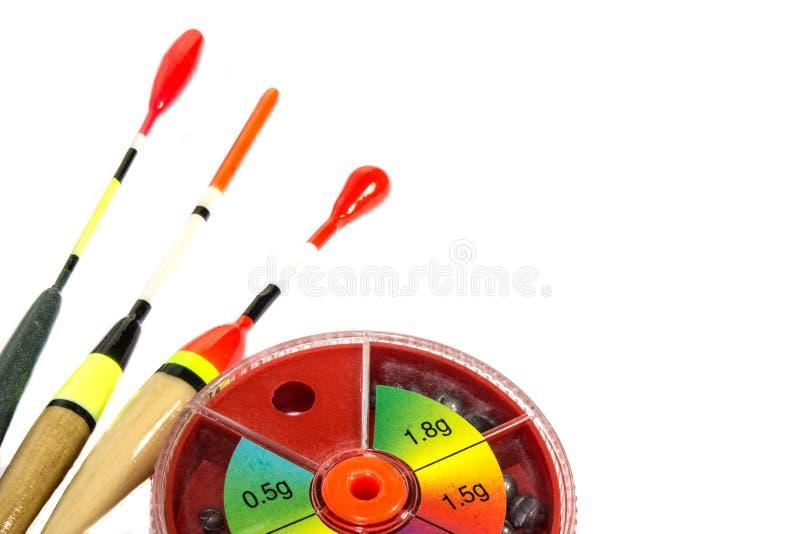Pescar sacode-se com ganchos e chumbadas foto de stock royalty free