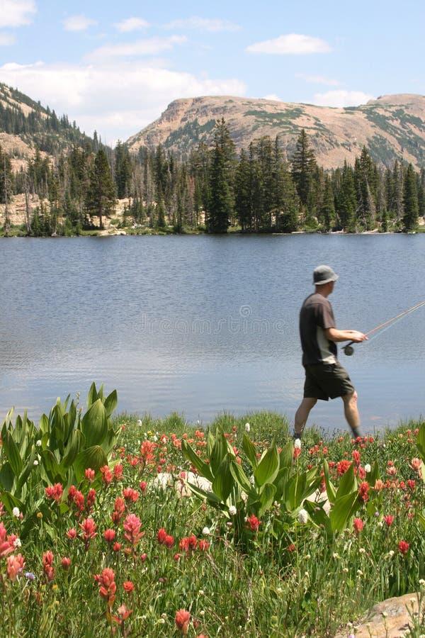 Pescatore che cammina dalla riva del lago   immagini stock