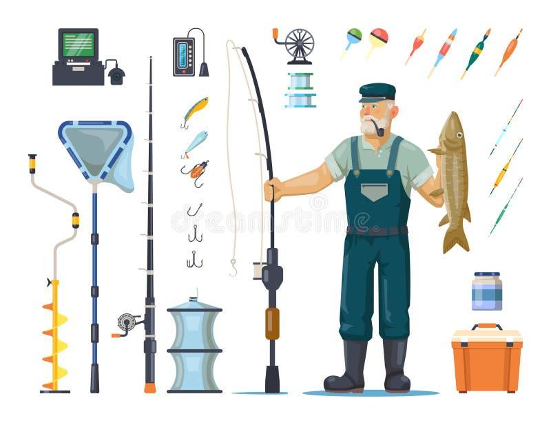 Pescatore con il pesce vicino al palo, barretta, gancio, attrezzatura illustrazione vettoriale
