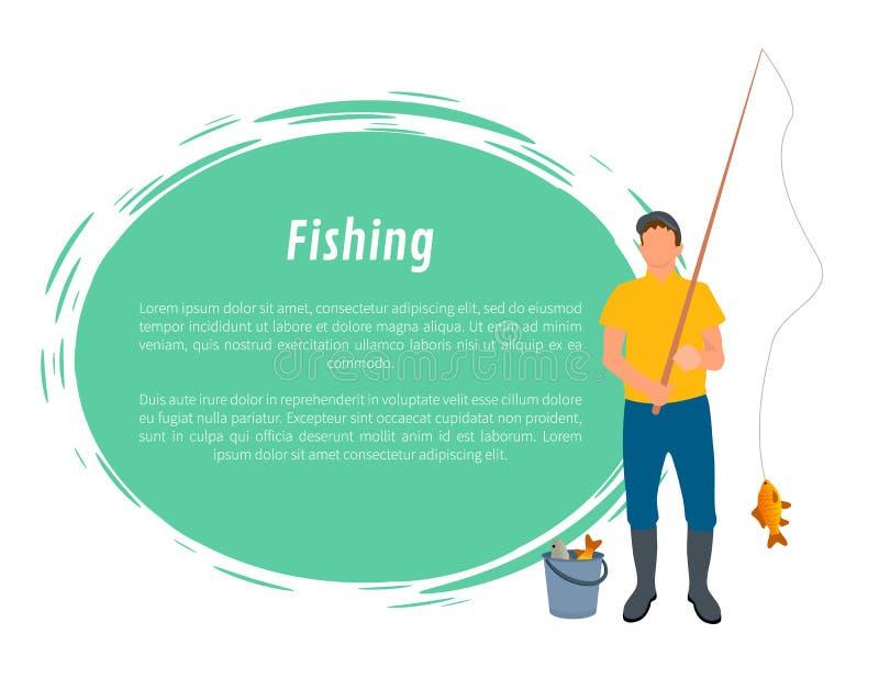 Pescatore con il vettore della canna da pesca, del pesce e del secchio illustrazione di stock