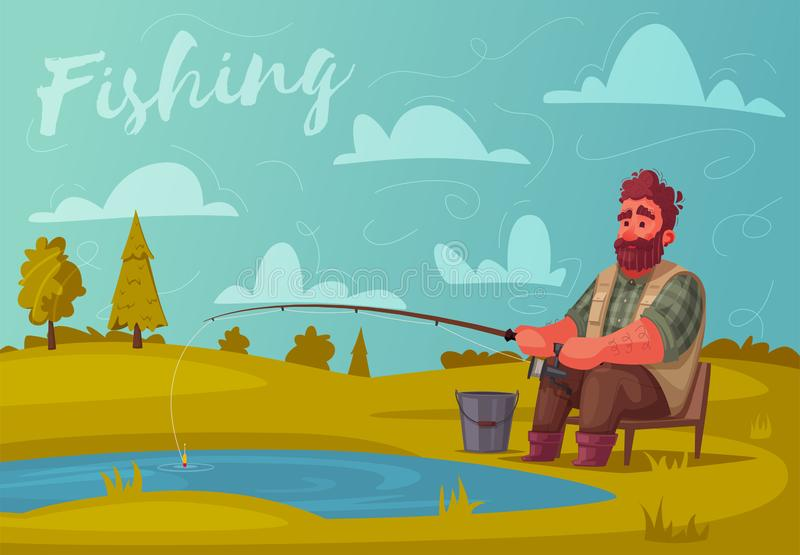 Pescatore con l'asta di pesca Illustrazione di vettore del fumetto illustrazione vettoriale