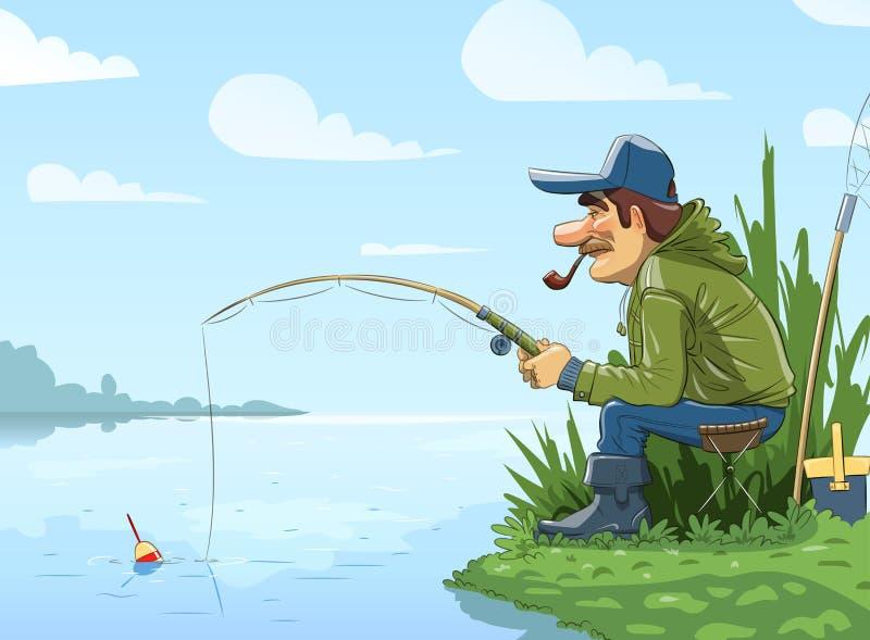 Pescatore con pesca con la canna sul fiume illustrazione vettoriale