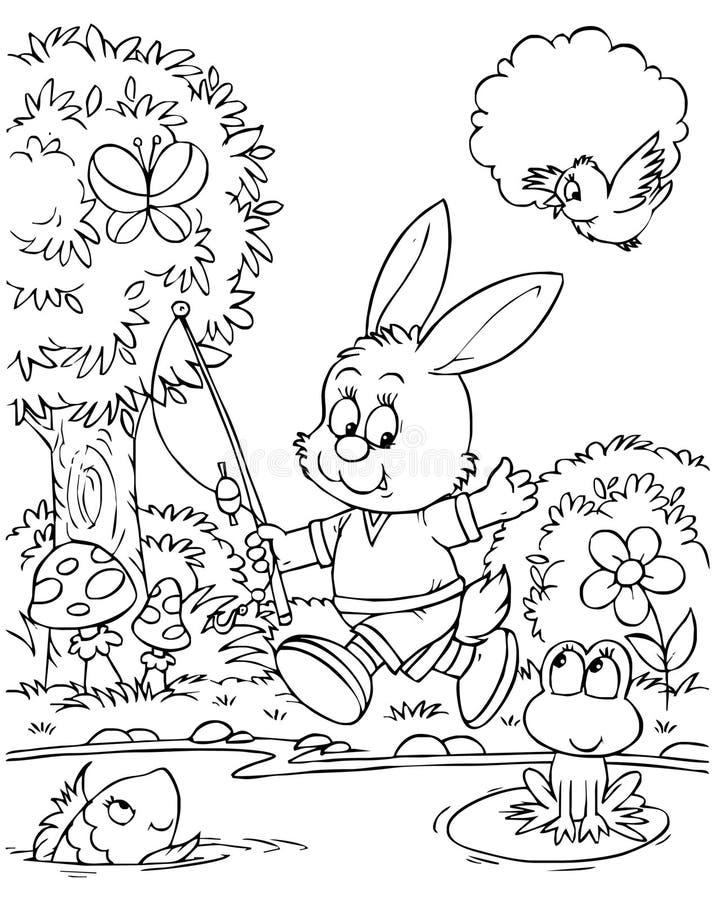 Pescatore del coniglietto illustrazione di stock