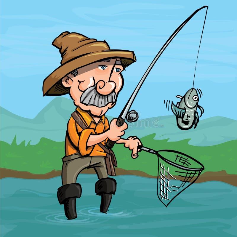 Pescatore del fumetto che pesca un pesce illustrazione di stock