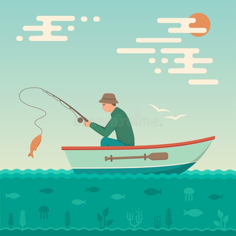 Pescatore del fumetto, pesce della cattedrale dell'uomo sulla canna da pesca illustrazione di stock