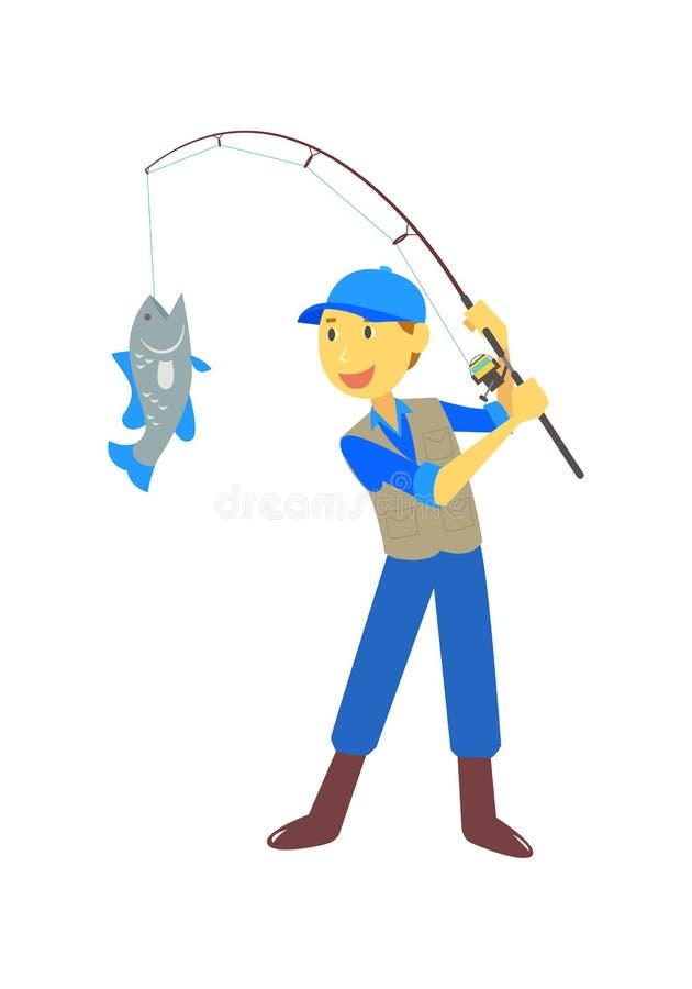 Pescatore del fumetto, vettore royalty illustrazione gratis