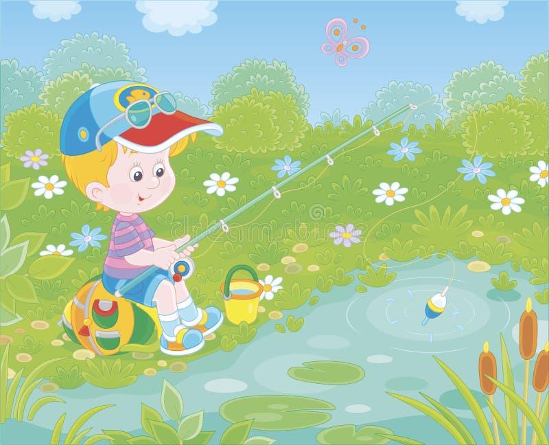 Pescatore del ragazzino su uno stagno illustrazione di stock