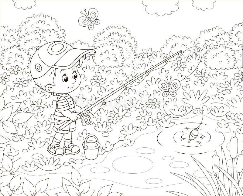 Pescatore del ragazzino su uno stagno illustrazione vettoriale