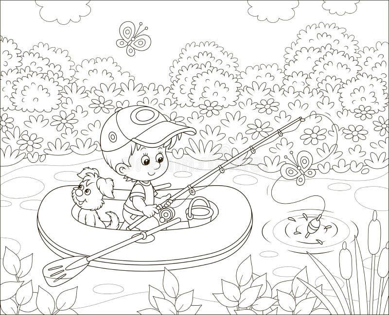 Pescatore del ragazzino in sua barca gonfiabile illustrazione di stock