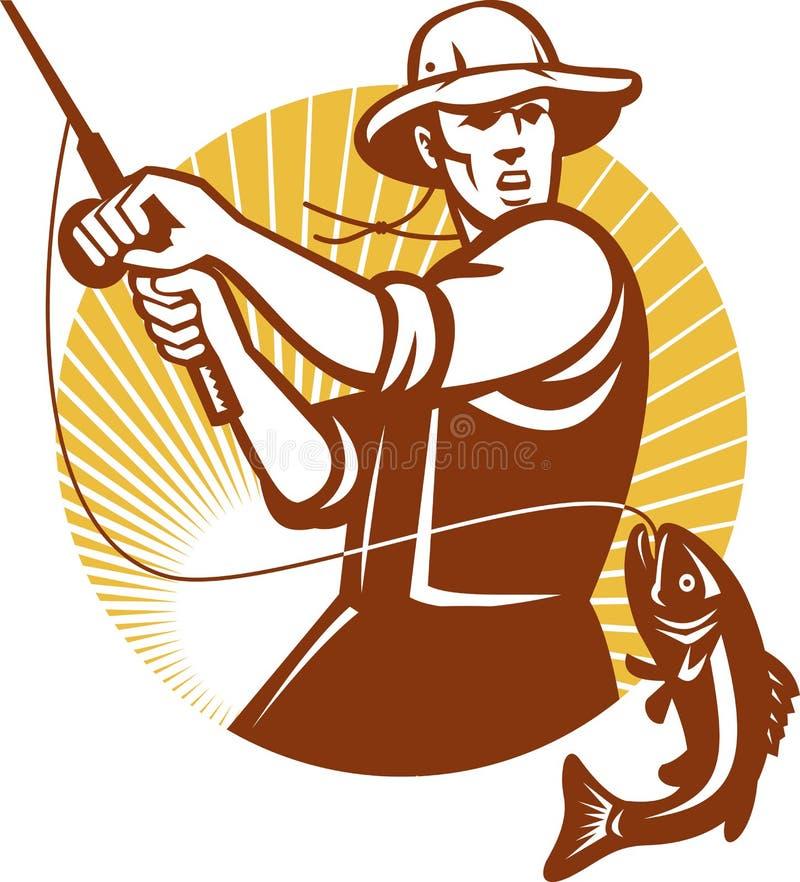 Pescatore della mosca che pesca retro intaglio in legno royalty illustrazione gratis