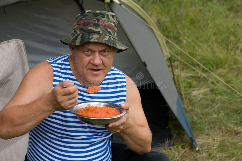 Pescatore della prima colazione fotografie stock libere da diritti