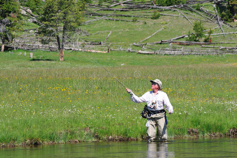 Pescatore maggiore attivo fotografia stock
