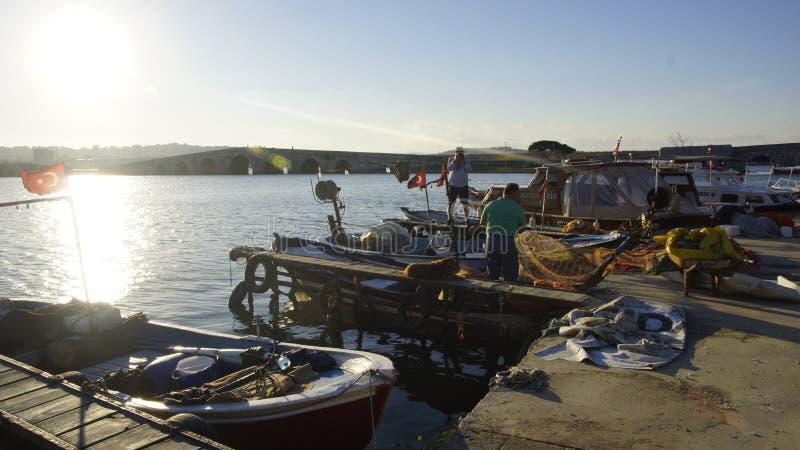 Pescatore netto del pesce del lago nella natura immagine stock