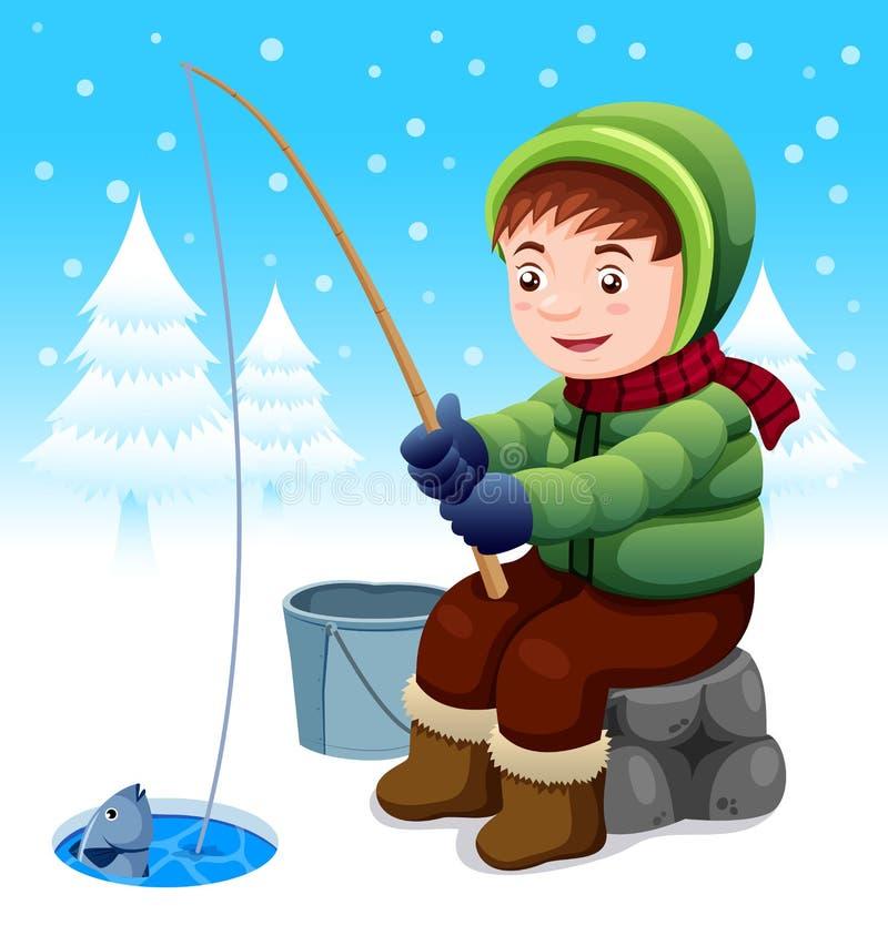 Pescatore in neve illustrazione di stock