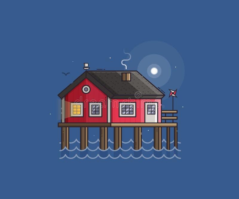 Pescatore rosso Stilt House illustrazione vettoriale