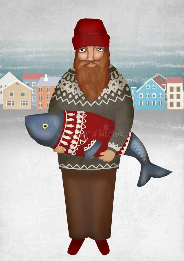 Pescatore scandinavo con il pesce in maglione della lana Paesaggio del Nord Uomo barbuto illustrazione vettoriale