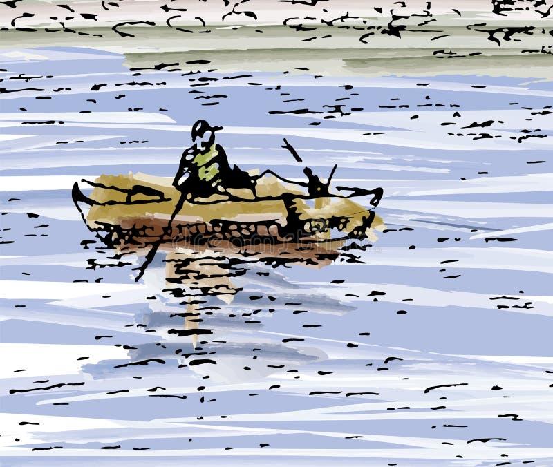 Pescatore Silenzio abbozzo fotografia stock