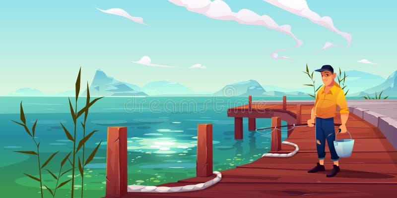 Pescatore sul pilastro, sulla vista sul mare e sul fondo delle colline illustrazione di stock