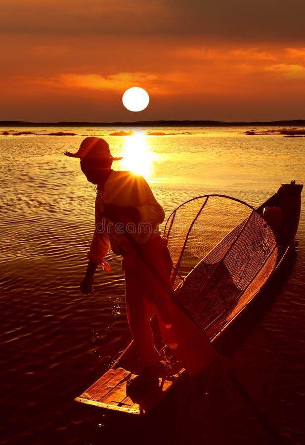 Pescatore, lago Inle, Myanmar (Birmania) fotografia stock libera da diritti