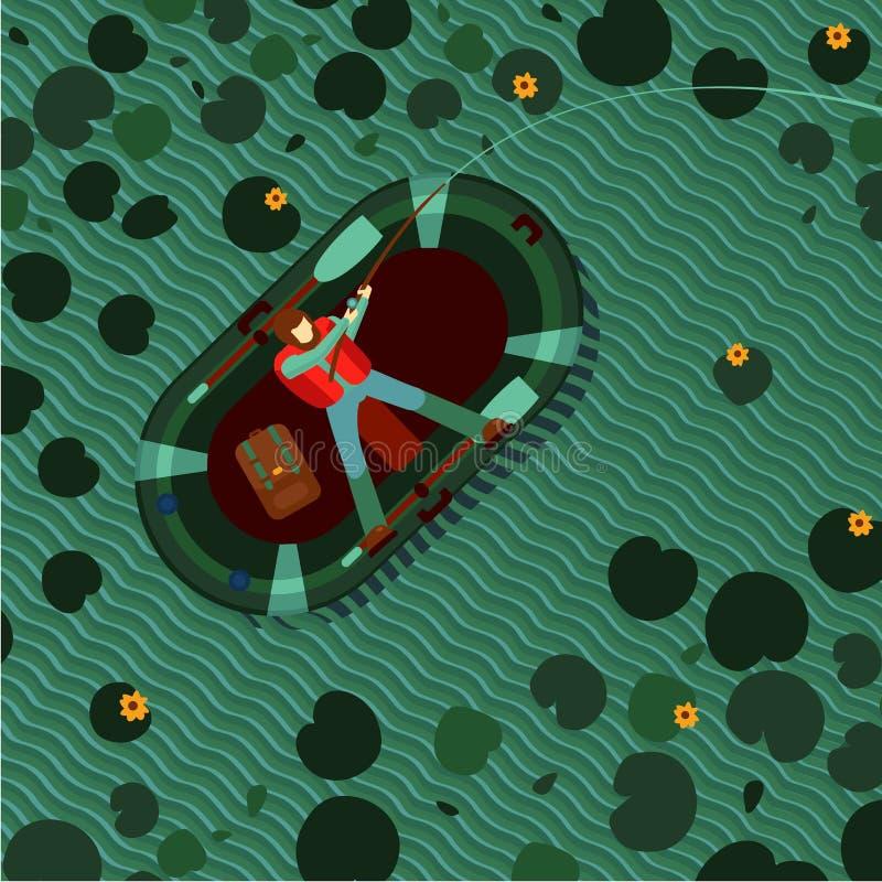 Pescatore in una barca gonfiabile su un lago Pesca dell'uomo in uno stagno Illustrazione di vettore di vista superiore Fumetto pi illustrazione di stock