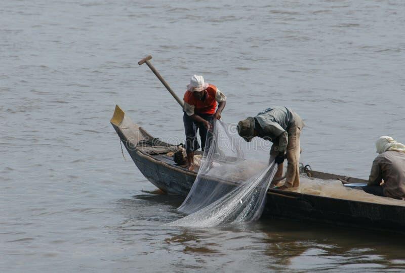 Pescatori al fiume di Mekong fotografia stock