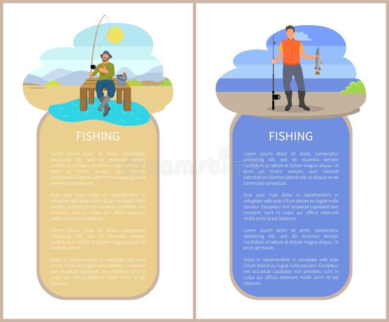 Pescatori che pescano dalla piattaforma e dalla banca illustrazione vettoriale
