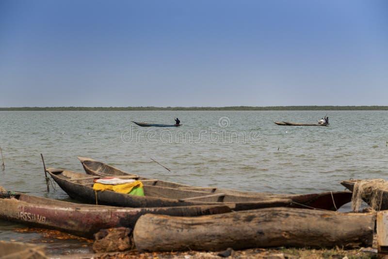 Pescatori sulle loro canoe nel fiume di Cacheu vicino alla città di Cacheu, in Guinea-Bissau immagine stock