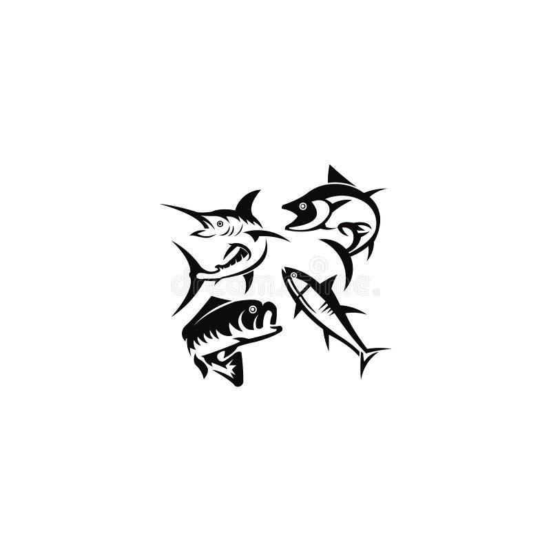 Pesce in acqua Logo Vettore Vettore di ristorante Seafood Store Icona Logotype royalty illustrazione gratis