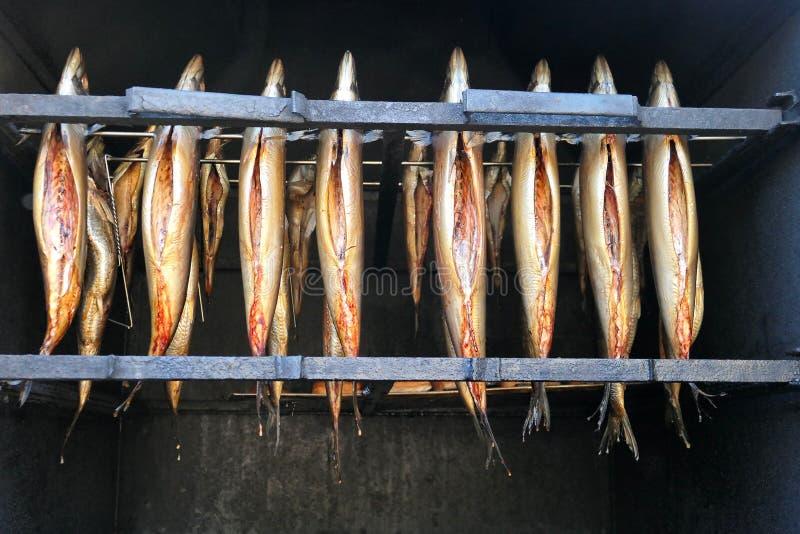 Pesce affumicato fresco in forno affumicatoio immagini stock libere da diritti