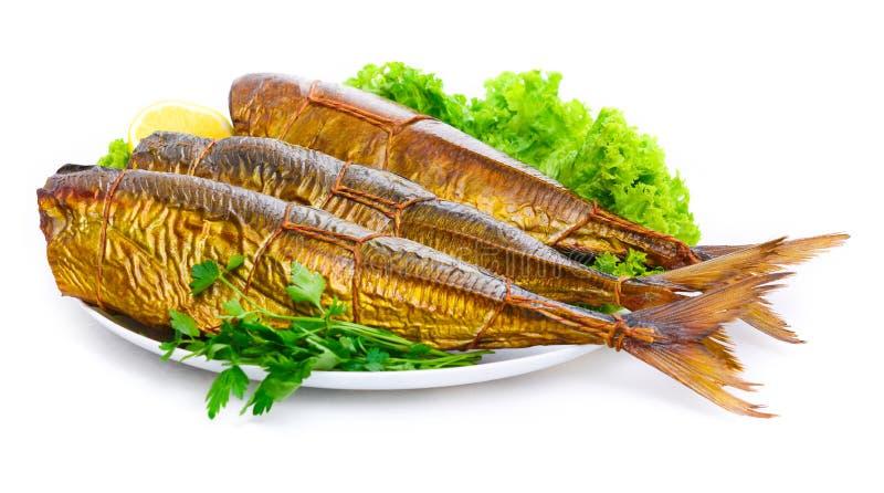 Pesce affumicato su un vassoio fotografie stock