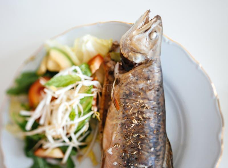 Pesce arrostito cucinato delizioso della trota con bio- insalata organica fatta fotografie stock libere da diritti