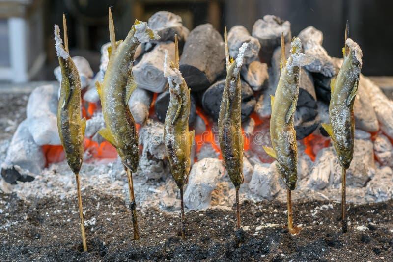 Pesce arrostito della trota alla cascata di Kegon immagine stock libera da diritti