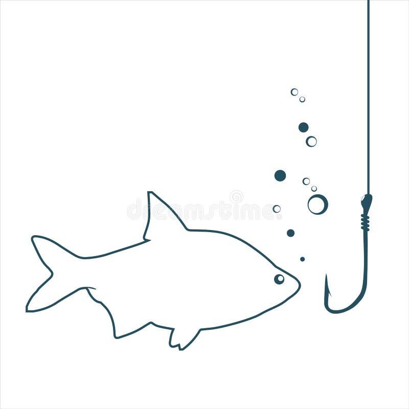 Pesce che considera un gancio illustrazione di stock
