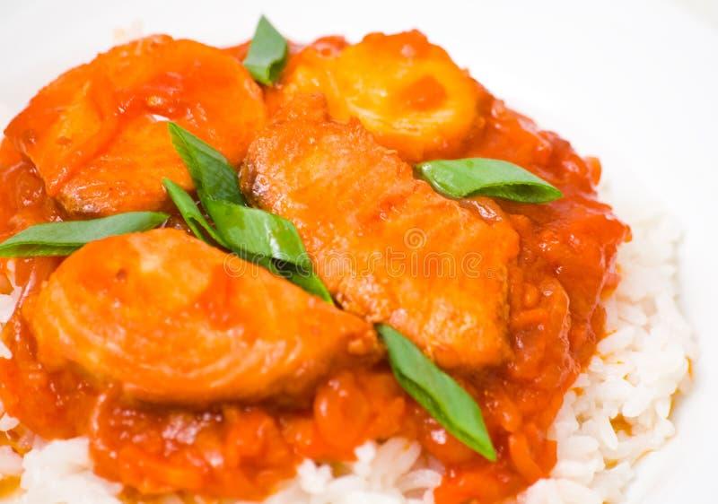 Pesce con le verdure ed il riso immagini stock