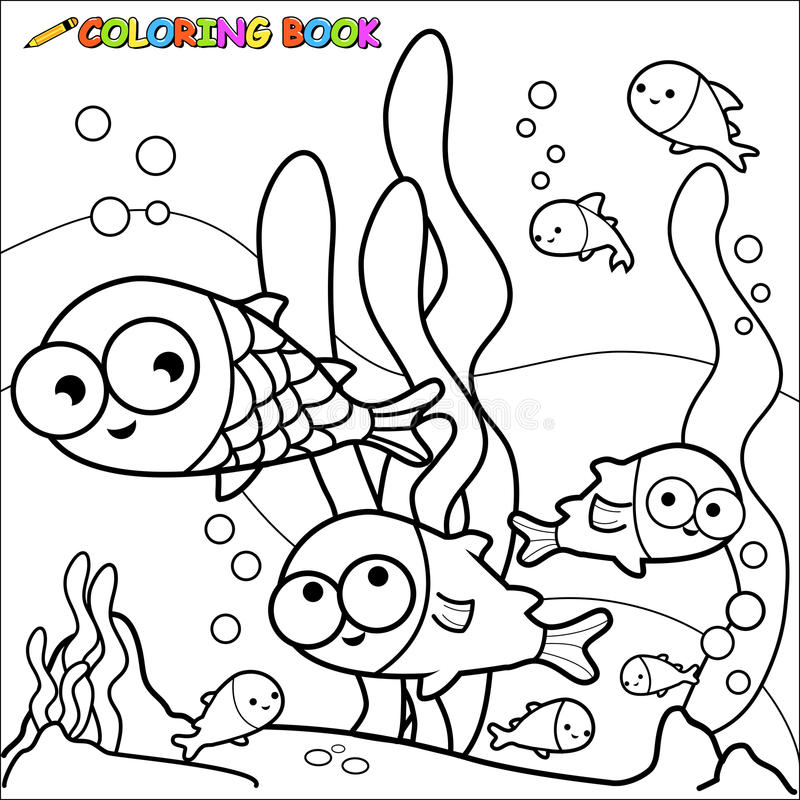 Pesce del libro da colorare subacqueo illustrazione - Pagina di colorazione del pesce ...