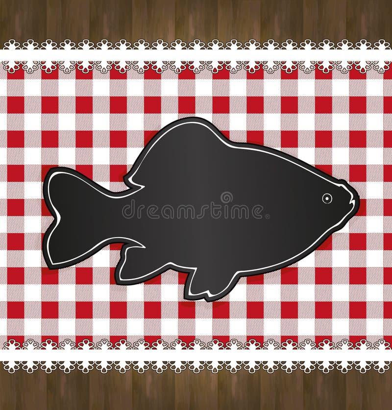 Pesce del pizzo della tovaglia del menu della lavagna illustrazione di stock