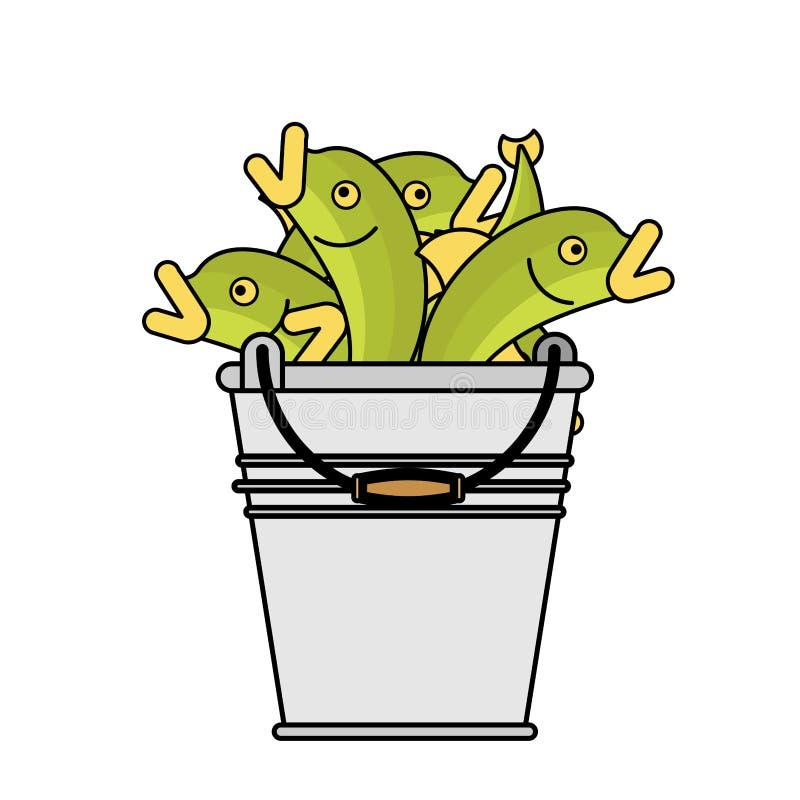 Pesce del secchio isolato Fermo del pescatore Illustrazione di vettore royalty illustrazione gratis